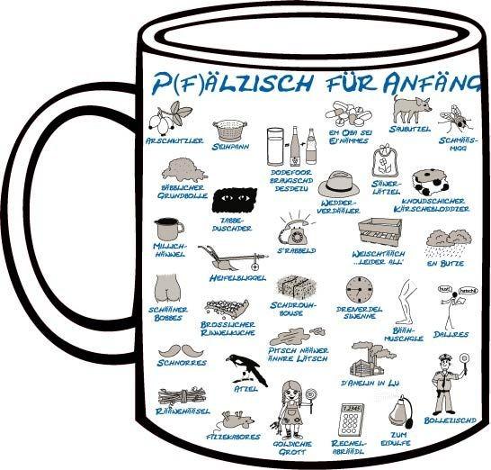 Tasse Pfälzisch für Anfänger blau Lektion 5-6