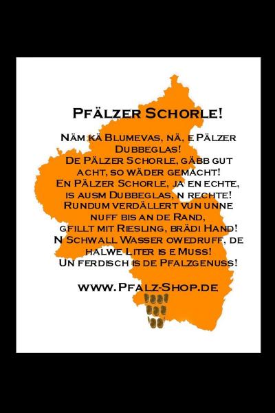 Aluschild Pfälzer Schorleanleitung 30x40cm