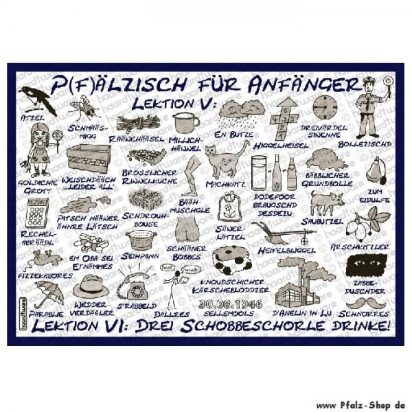 Postkarte Pfälzisch für Anfänger Lektion 5-6 blau