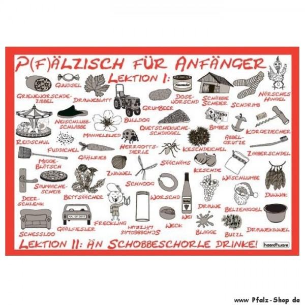 Postkarte Pfälzisch für Anfänger Lektion 1-2 rot